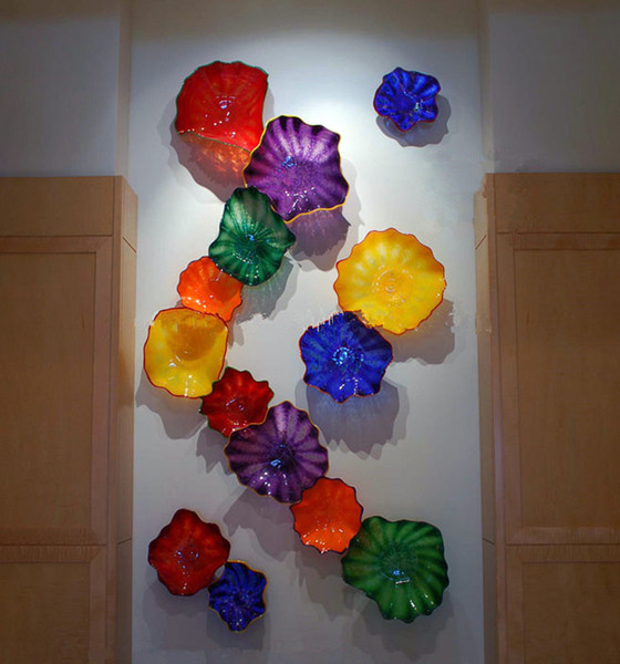 best selling Modern Design Murano Glass Lamps Flowers Platters 14pcs Mounted Plate Light for Home Hotel Hanging Decorative Wall Art