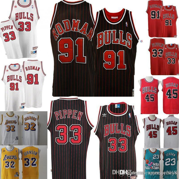 c3e65d41c Retro Mesh Dennis 91 Rodman Scottie 33 Pippen Jersey Mens Chicago 23  Michael Bulls Basketball Jerseys