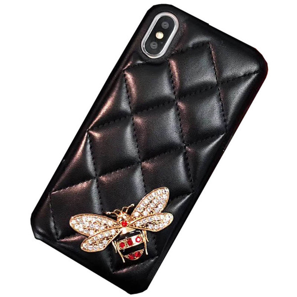 19SS Luxury Leather Case Designer Phone Case for IphoneX XS XR XSMAX X 7Plus/8Plus 7/8 6/6sP 6/6s Fashion Case with Bee Black Red Wholesale