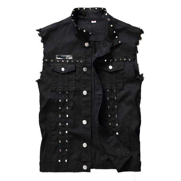 Idopy Fashion Mens Rivet Denim Vest Punk Party Studded Slim Fit Jean Jacket Uomo Gilet senza maniche da uomo Plus Size