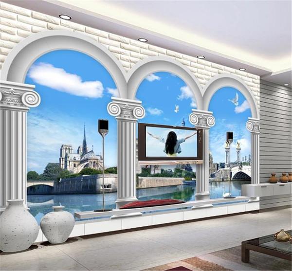 European Roman column world style 3D TV background wall decoration beautiful scenery wallpaper
