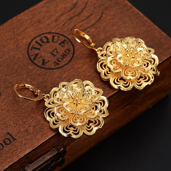 tas de fleurs Pendants d'oreilles africaines arabe Dubaï Boucles d'oreilles couleur or Bijoux monnaies antiques Vintage accessoires pour femmes filles bijou de fête pour les enfants ...