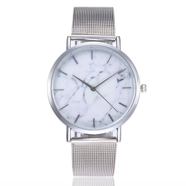 Ultra-thin marble three-needle wordless quartz watch for men and women