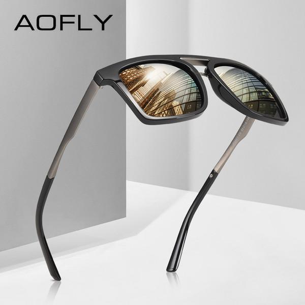 Toptan MARKA TASARIMI Moda Polarize Güneş Gözlüğü Erkekler Alaşım Tapınak Güneş Gözlüğü Erkek Vintage Gözlük Gafas De Sol