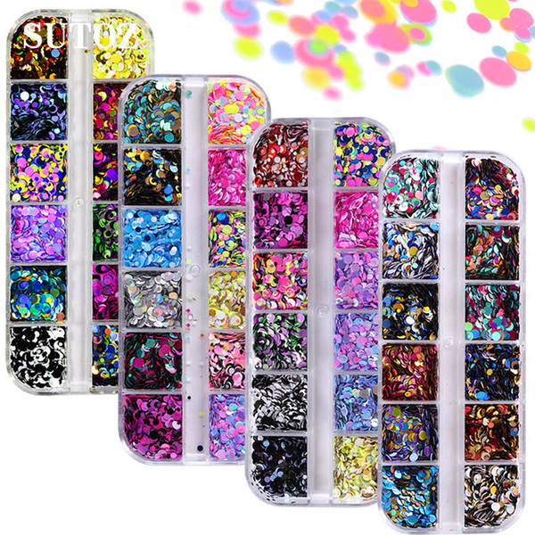 top popular Nail Glitter Sequins Colorful Round Shapes Confetti DIY Nail Art Decorations for Nails Manicure Tips Accessories 2021