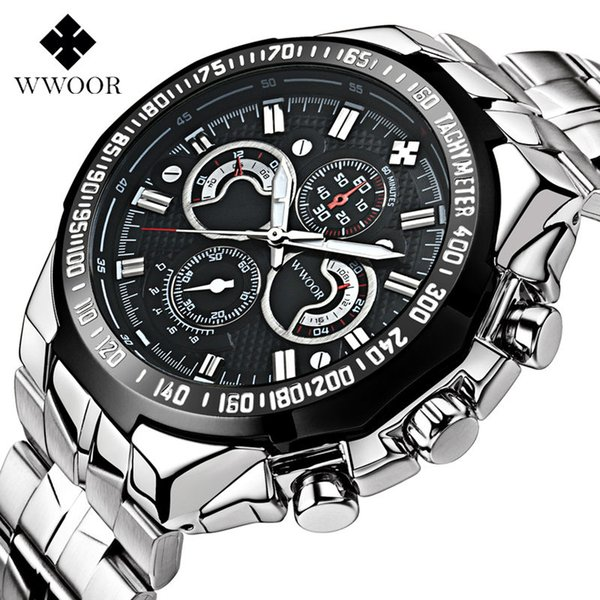 Top Luxus Männer Uhren Leucht Relogio Männlichen Quarz Wathces Silber Uhr Edelstahlarmband Sport Wasserdichte Uhr 13-Schwarz
