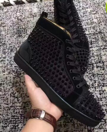 Fashion black spikes Hi Top Sneakers Red Bottom Shoes Women,Men Trainers black canvas high quality Lace-up Spikes Red Sole Part