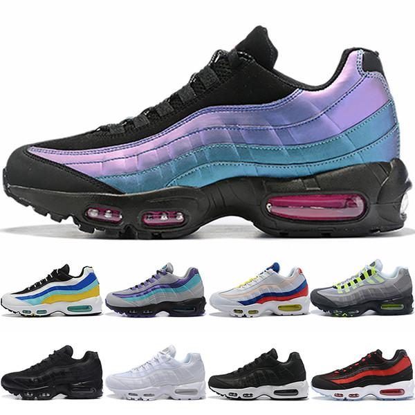 Nike Air Max 95 Erkekler Tasarımcı 95 Koşu Ayakkabıları Lazer Fuşya Kırmızı Yörünge Bred Aqua Neon Üçlü Siyah Beyaz Erkek Eğitmenler Spor Sneakers Boyutu 7-12