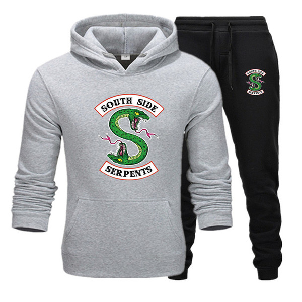 2019 novo treino homens duas peças hoodies + calças outono / inverno riverdale hoodies moletons terno masculino jogging treino t14