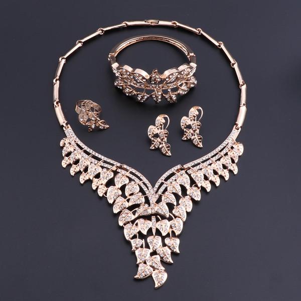 Großhandel Oeoeos Türkische Hochzeit Kostüm Schmuck Set Brautschmuck Afrikanische Perlen Schmuck Set Für Frauen Gold Farbe Blätter Halskette Set Von