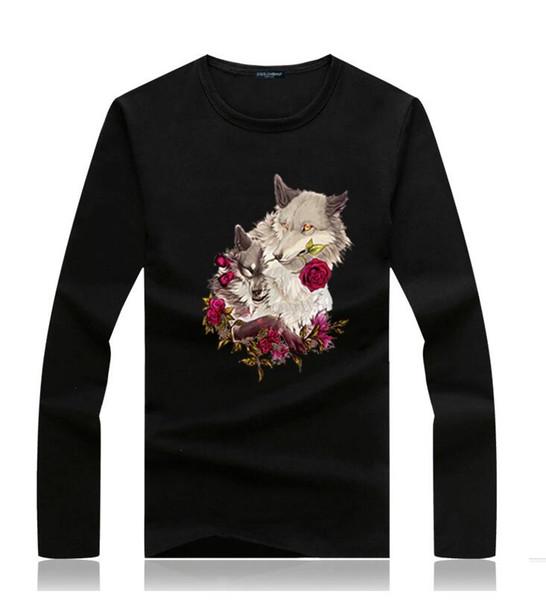 Famous Wolf long sleeve cotton t shirt mens casual Wolf spring autumn t shirt long sleeve mens designer long sleeve shirts men s clothing
