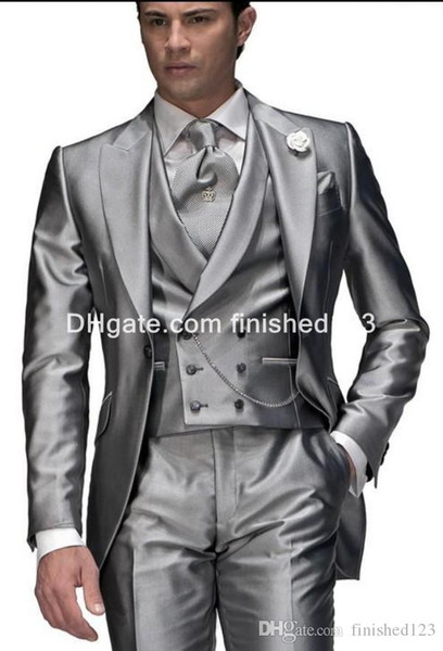 Shiny Silver Grey Groom Tuxedos Man Business Suit Prom Party Blazer Coat Waistcoat Troueres Sets (Jacket+Pants+Tie+Vest) K900