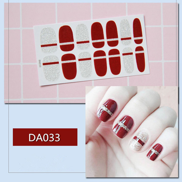 New French Nail Wraps 14 Tips Nail Art Stickers Stripes Designs Waterproof Polish Full Cover Manicure Patch Makeup Tools