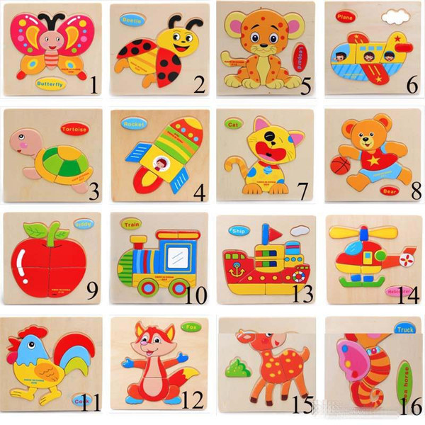top popular 22 Style Baby 3D Puzzles Jigsaw Wooden Toys For Children Cartoon Animal Traffic Puzzles Intelligence Kids Early Educational Training Toy C3 2021