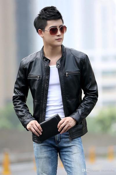 5XL New Men Slim Giacche in pelle corta da uomo Stand Collar Cappotti Giacca Moto in pelle maschile solido Abbigliamento casual di marca