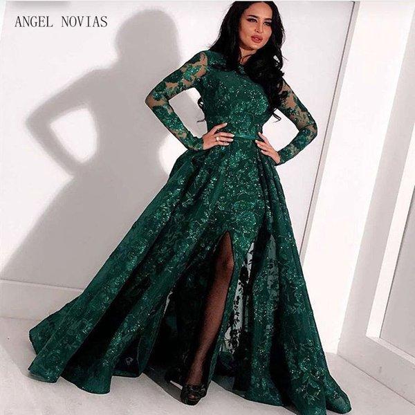 Длинные рукава Зеленое кружево Русалка Вечернее платье с арабской горловиной 2018 kaftan Dubai Вечерние платья с отстегивающейся юбкой