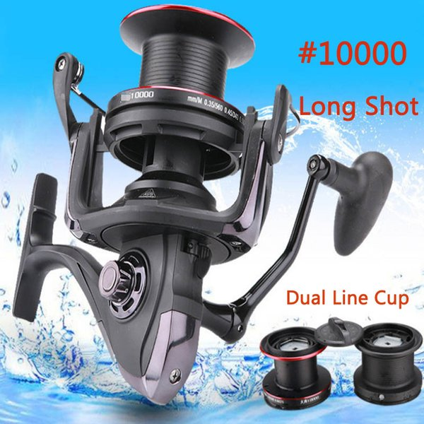10000# large spinning fishing reel with spare spool saltwater freshwater distance long sbass trout carp pike reels thumbnail