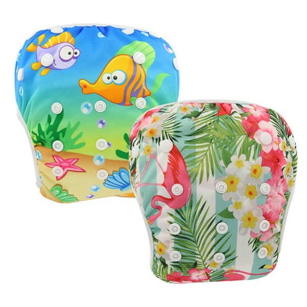 Ohbabyka Waterproof Diapers for Swimming Animal Floral Pattern Baby Cloth Diaper Infant Swimwear Baby Nappies Cover 2PCS