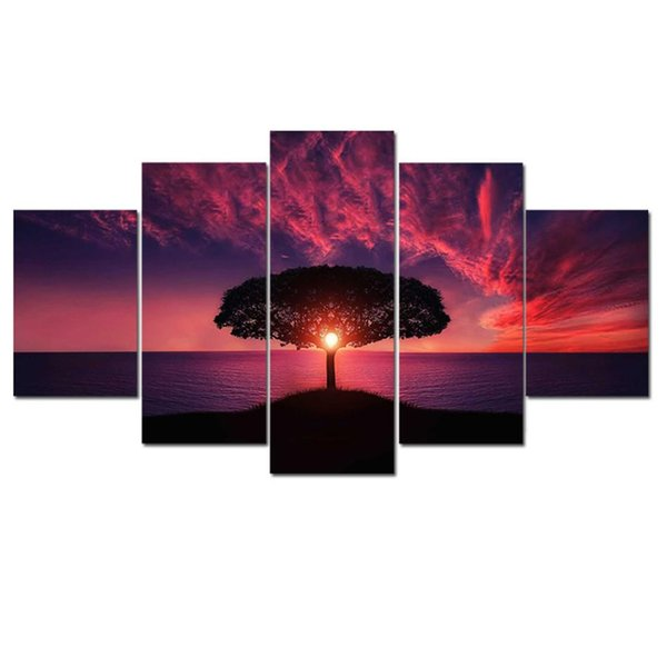 Sunset Landscape,5 Pieces HD Canvas Printing New Home Decoration Art Painting /Unframed/Framed