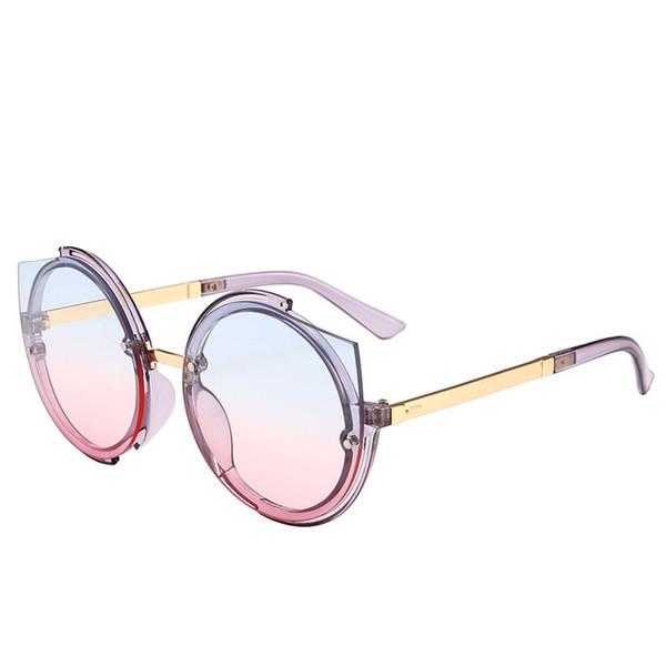 a0be7e163b4d7 2019 Gradiente Rodada Óculos De Sol de Luxo Da Marca Mulheres Óculos de Olho  de Gato Designer de Moda Óculos De Sol de Alta Qualidade Proteção UV400  Eyewear ...