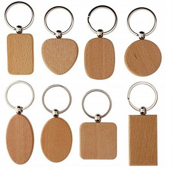 Vazio Coração Retângulo chaveiro de madeira chaveiros DIY personalizado Madeira Key Tag presentes Acessórios Atacado