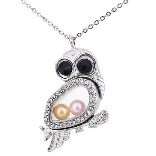 K1549 Color plata Ojos grandes búho Perlas de perlas Jaula Rhinestone Cristal Magnético Locket Colgantes Mujeres Encantos Collar
