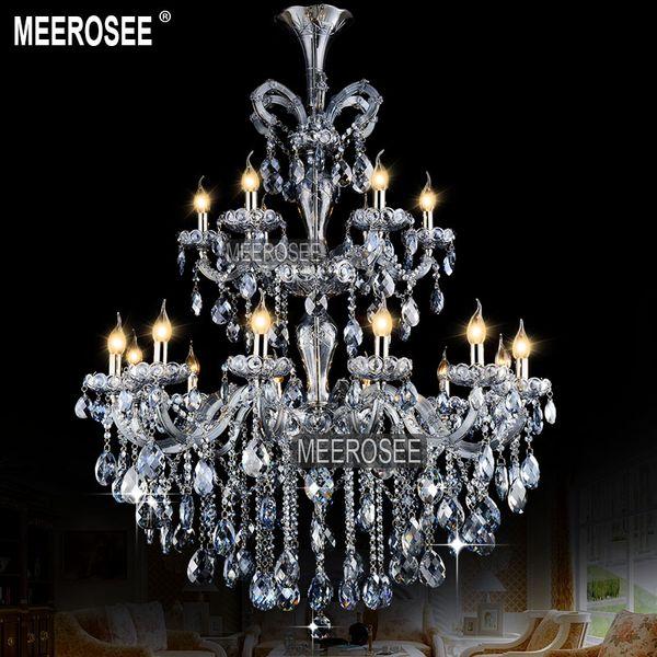 Lüks kolye Açık Mavi Maria Theresa Büyük Kristal Avize Işık Kristal Asma Lamba Montaj cilalar 18 Lambalar pendentes