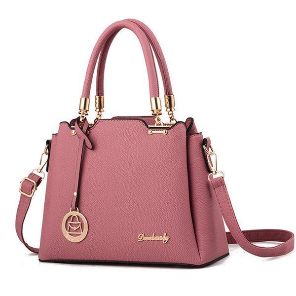 New Women Fashion Shoulder Bag Ornaments Totes Messenger Bag Solid Pu Crossbody Bag Metal Handle Handbag Hotsale Ladies Purse