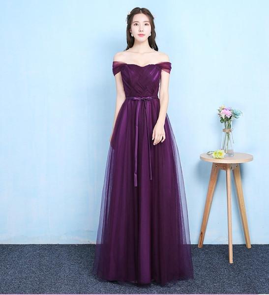 Raisin Violet Couleur Hors De L'épaule Sans Manches Robe De Demoiselle D'honneur Robe Élégante Robe Femmes Pour La Robe De Mariage Partie Longue Étage
