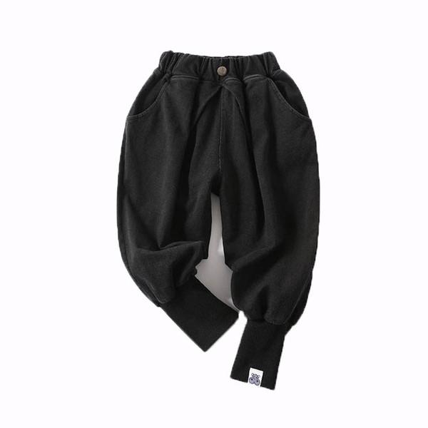 Çocuklar Erkek Kot Çocuk Rahat Pantolon Elastik Kot Jogging Yapan Pantolon Katı Geri Iki Cepler Elastik Bel 6