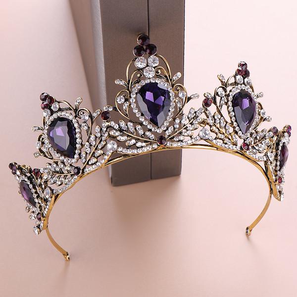 Фиолетовый Кристалл Свадебный Тиара Корона Горный Хрусталь Диадема для Принцессы Свадебные Аксессуары Для Волос Старинные Золотые Кристалл Королева Невеста Корона
