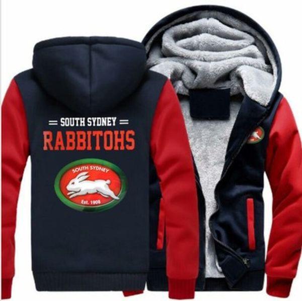 2019 inverno hoody south sybito rabbitohs Homens mulheres Quente Engrosse Hoodies roupas outono camisolas Zipper jaqueta de lã com capuz streetwear
