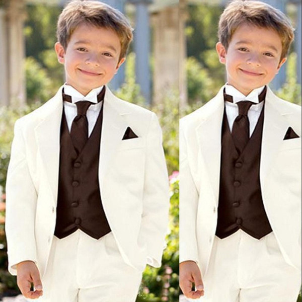 2019 Lvory Boy Suits Notched Lapel Kid WeddingTuxedos Childer Suit For Prom Ring Bearer Suits Custom Made (Jacket+Pants+Vest+Tie)