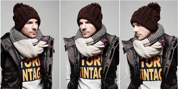 Frauen Damen Männer Winter Warme Ski Kabel Wolle Strick Gestrickte Bobble Pom Beanie Mütze Hut Freies Verschiffen