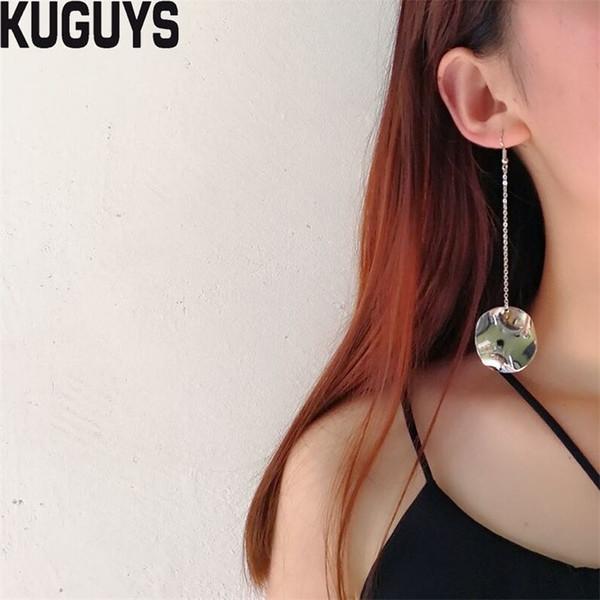KUGUYS Joyería de Moda Oro Plata Metal Vintage Borla Larga Cuelga Los Pendientes para Las Mujeres Ronda Pendiente de Gota Brincos Mujer Accesorios