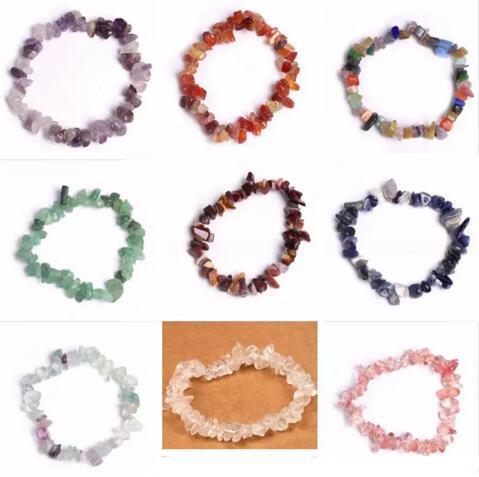 Natürliche Heilung Kristall Sodalith Chip Edelstein 18cm Stretch Armband Natürliche gemischte Edelstein Chakra Mode Armband Liebhaber Armbänder
