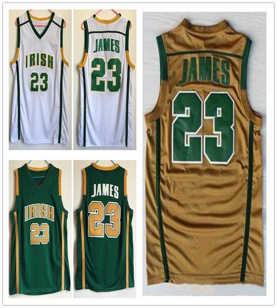 online store 16fbd 4d260 NCAA College LeBron James Jerseys Irish St. Vincent Mary Basketball High  School LeBron 23 James Jersey Men University Green White UK 2019 From ...