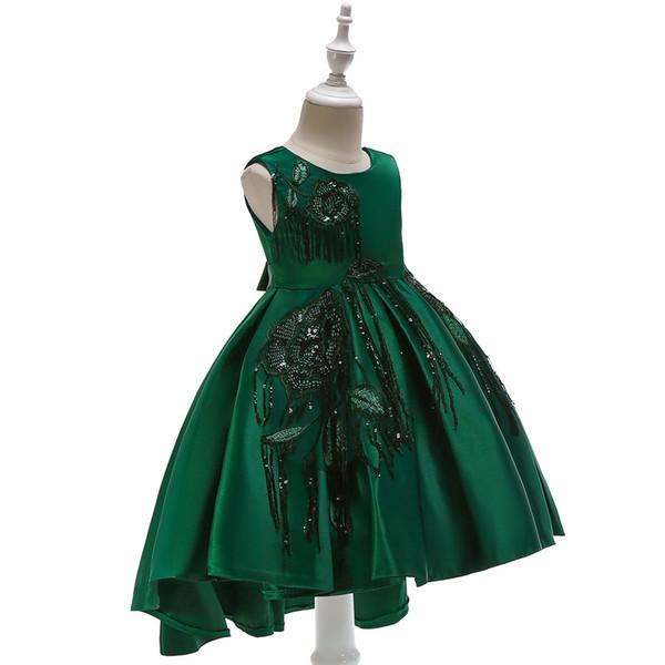 2019 Kids Clothes Children's Catwalk Tuxedo Dress Girl princess wedding dress big flower princess dress sequin embroidered children's skirt