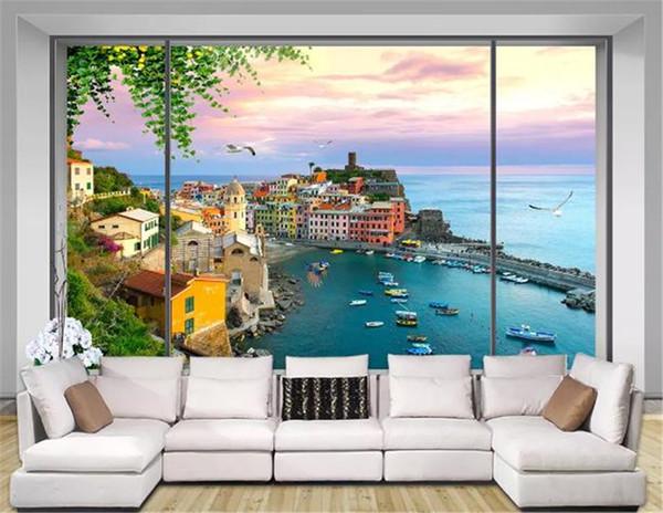 3d Wallpaper Custom 3d Window Seaside Beautiful Village Scenery