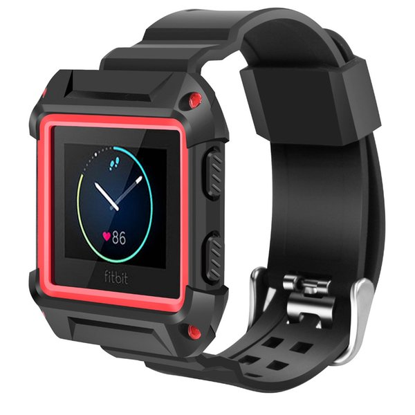Compatible Fitbit Blaze Bands, Shockproof Slim Protective Frame Case with Strap Bands for Fitbit Blaze Smart Fitness Watch S/L