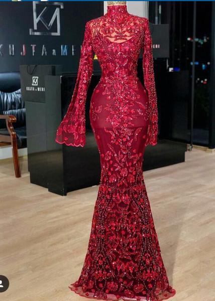 Evening dress Yousef aljasmi Labourjoisie Zuhair murad Trumpet High Collar Long Sleeve Red Tulle Appliqued Sequins Long Dress James_paul