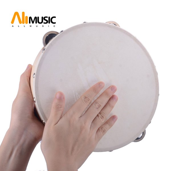 """top popular 9"""" Hand Held Tambourine Drum Bell Birch Metal Jingles Percussion Musical Educational Toy Instrument for KTV Party Kids Games 2021"""
