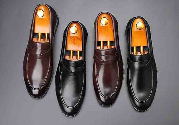 Cheap Spring Autumn Pointed Toe Men Shoes Italian Style Formal Dress Leather Shoes Flats Party Wedding Loafers