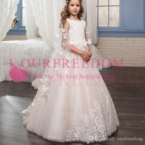 2019 Lovely Blush Pink Flower Girls Dresses With Wrap Jewel Neck White Lace Appliques Puffy Tulle First Communion Dresses For Garden Wedding