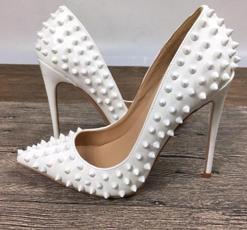 Pointed Toe White PU high heels patent exclusive brand needle rivet shallow mouth pumps wave 8/10/12cm heels Party Wedding Shoes #9033