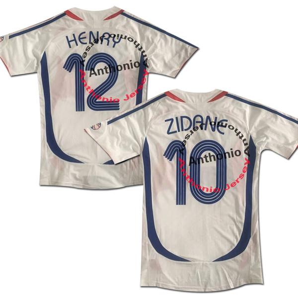 2006 FRANCE AWAY FINAL MATCH ZIDANE 10 HENRY 12 MAILLOT DE FOOT soccer uniform kits soccer jerseys thailand quality football shirts kit