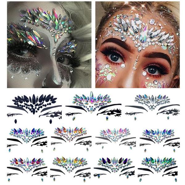 Diamante pegatina estilo Bohemia Glitter tatuaje cristal pegatinas para mujeres cara frente Paster decoraciones de boda 11 estilos RRA1462