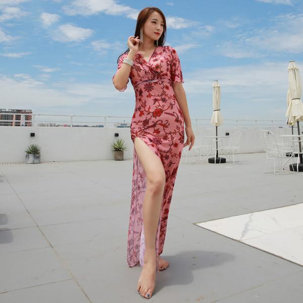 Dança do Ventre Desgaste Da Dança Das Mulheres Elásticas Sexy Vestido de Dança Do Ventre Oriental One-Piece-Vestido Traje Desgaste