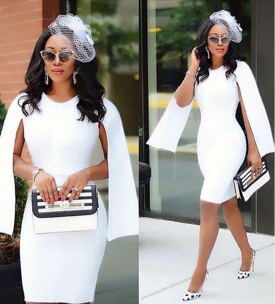 Elegantes vestidos de cóctel Nueva moda Blanco hasta la rodilla Funda Más tamaño Africano Joya Cuello Cap Manga Satén Corto Vestidos de fiesta de graduación Z147