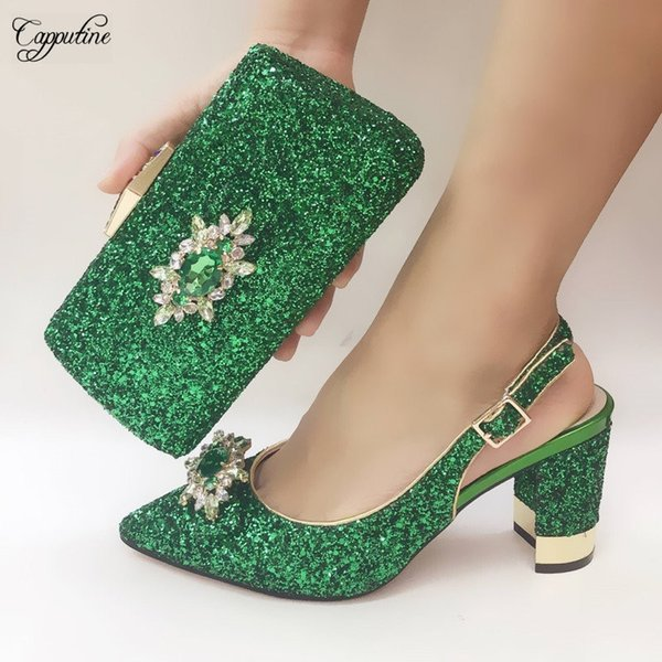 Graceful green high heel shoes and bag set fashion sandals with purse handbag 073-6 heel height 8cm